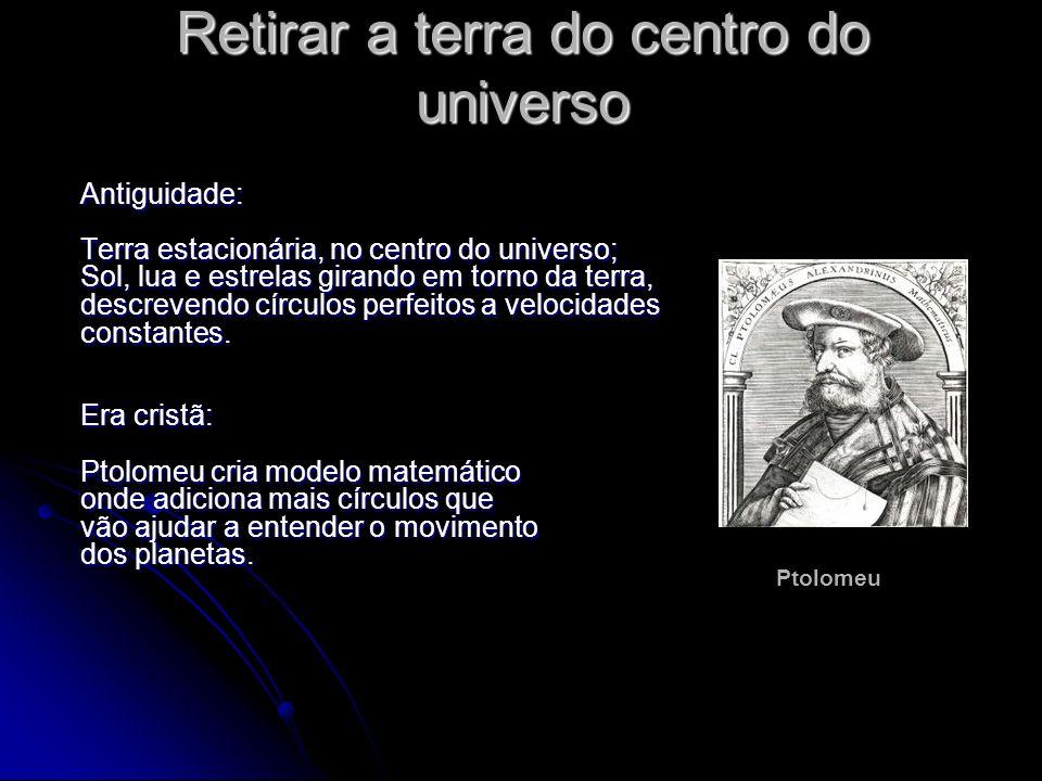 Retirar a terra do centro do universo Antiguidade: Terra estacionária, no centro do universo; Sol, lua e estrelas girando em torno da terra, descreven