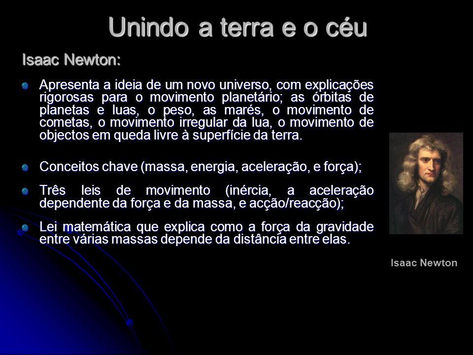 Unindo a terra e o céu Isaac Newton: Apresenta a ideia de um novo universo, com explicações rigorosas para o movimento planetário; as órbitas de plane