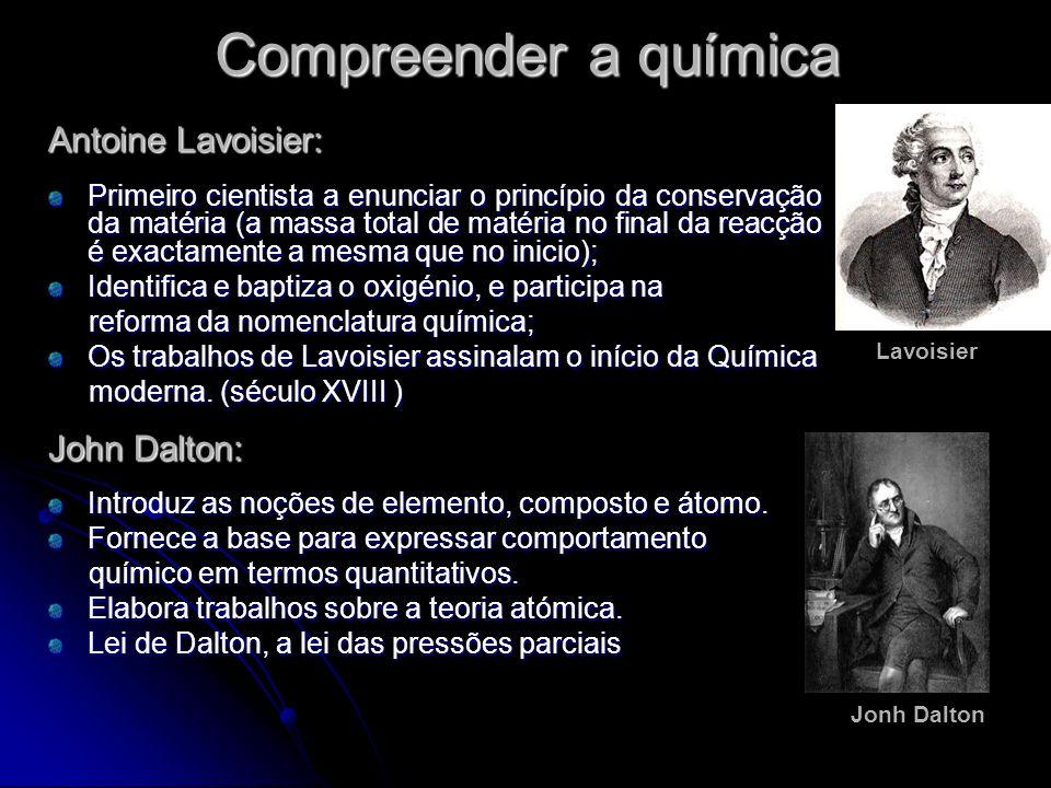Compreender a química Antoine Lavoisier: Primeiro cientista a enunciar o princípio da conservação da matéria (a massa total de matéria no final da rea