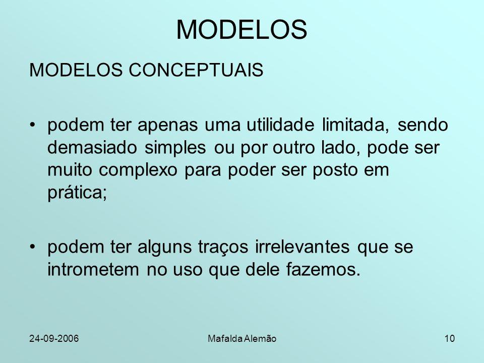 24-09-2006Mafalda Alemão10 MODELOS MODELOS CONCEPTUAIS podem ter apenas uma utilidade limitada, sendo demasiado simples ou por outro lado, pode ser mu