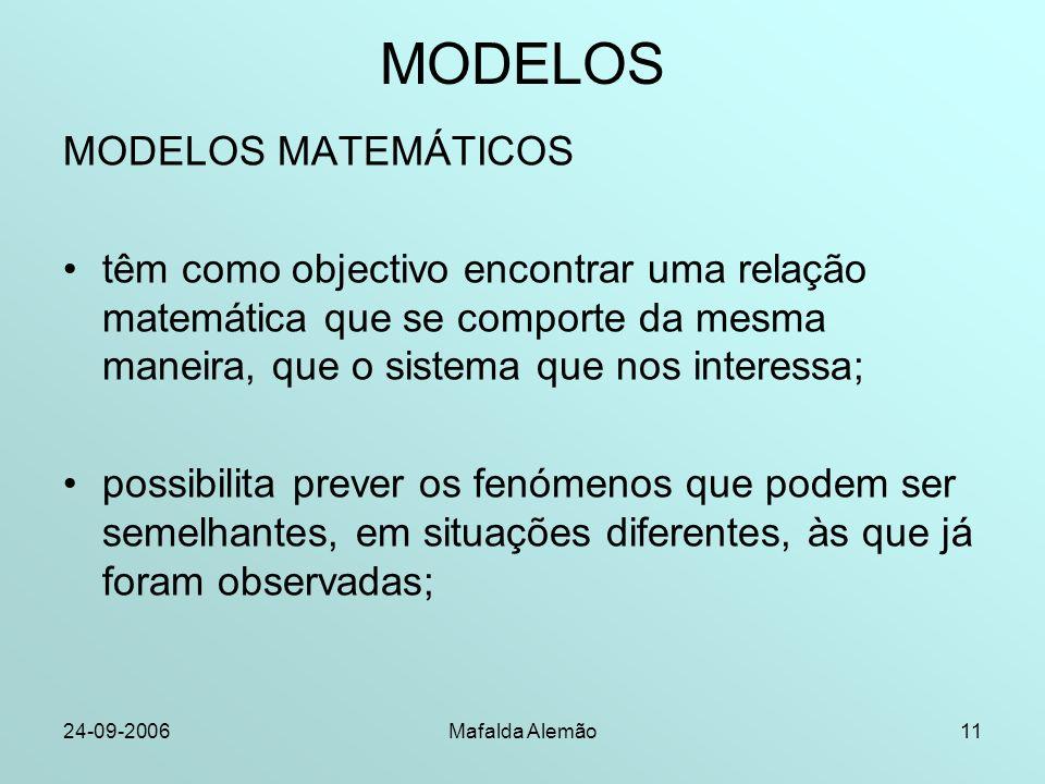 24-09-2006Mafalda Alemão11 MODELOS MODELOS MATEMÁTICOS têm como objectivo encontrar uma relação matemática que se comporte da mesma maneira, que o sistema que nos interessa; possibilita prever os fenómenos que podem ser semelhantes, em situações diferentes, às que já foram observadas;