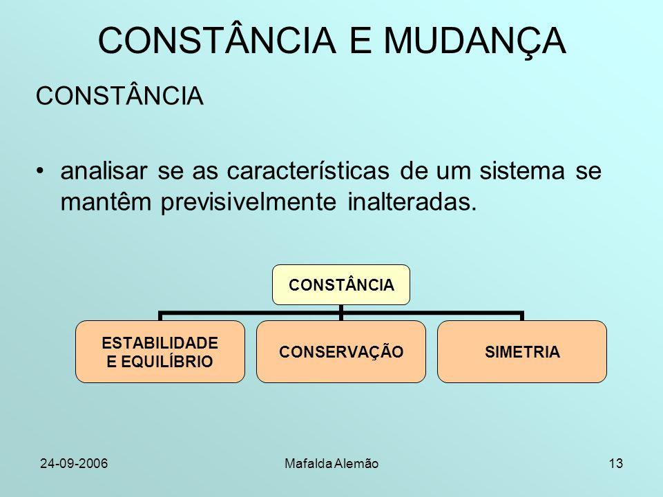 24-09-2006Mafalda Alemão13 CONSTÂNCIA E MUDANÇA CONSTÂNCIA analisar se as características de um sistema se mantêm previsivelmente inalteradas. CONSTÂN