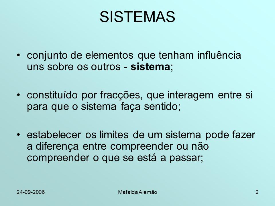 24-09-2006Mafalda Alemão2 SISTEMAS conjunto de elementos que tenham influência uns sobre os outros - sistema; constituído por fracções, que interagem