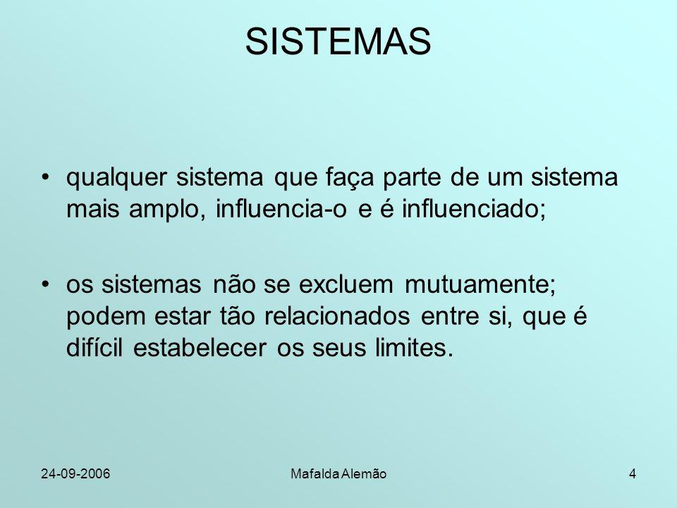 24-09-2006Mafalda Alemão4 SISTEMAS qualquer sistema que faça parte de um sistema mais amplo, influencia-o e é influenciado; os sistemas não se excluem