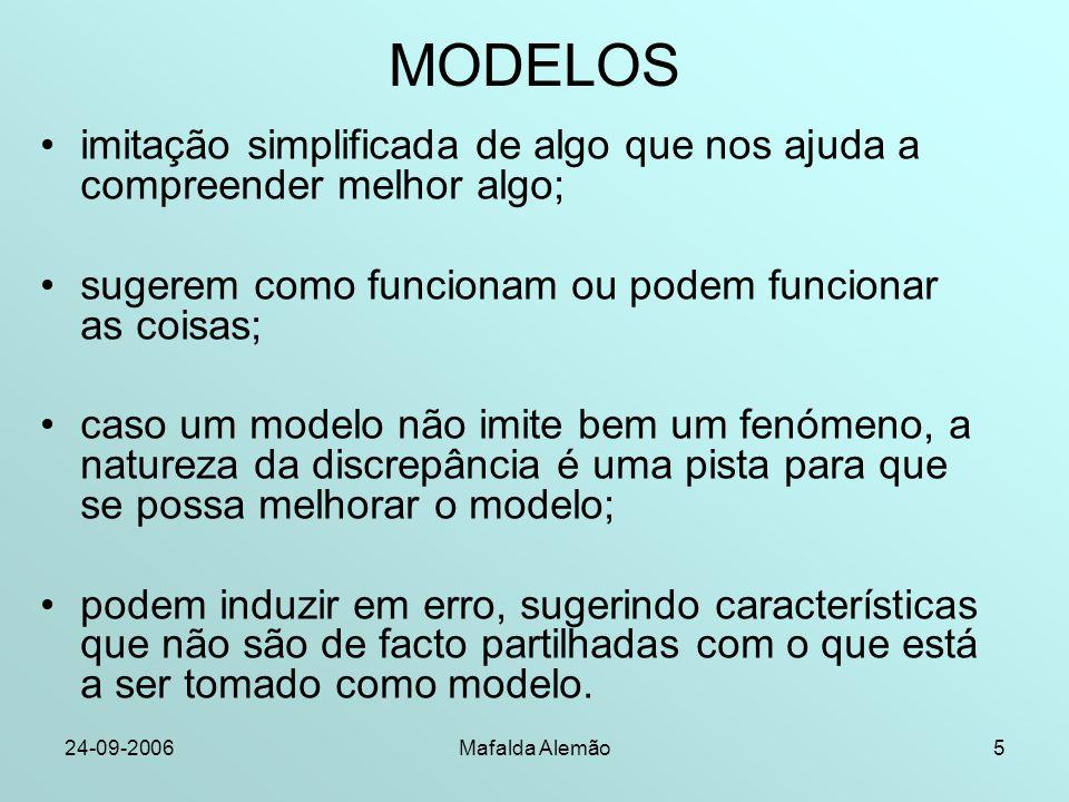 24-09-2006Mafalda Alemão5 MODELOS imitação simplificada de algo que nos ajuda a compreender melhor algo; sugerem como funcionam ou podem funcionar as