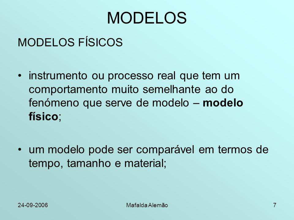 24-09-2006Mafalda Alemão7 MODELOS MODELOS FÍSICOS instrumento ou processo real que tem um comportamento muito semelhante ao do fenómeno que serve de m