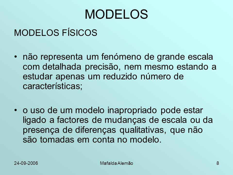 24-09-2006Mafalda Alemão8 MODELOS MODELOS FÍSICOS não representa um fenómeno de grande escala com detalhada precisão, nem mesmo estando a estudar apen