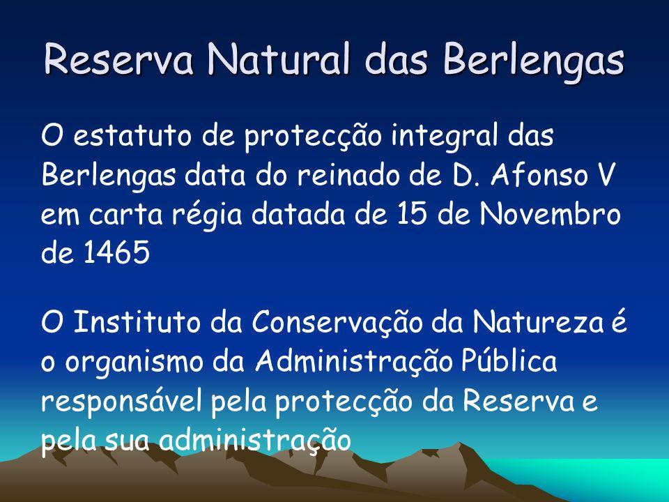 Reserva Natural das Berlengas O estatuto de protecção integral das Berlengas data do reinado de D. Afonso V em carta régia datada de 15 de Novembro de