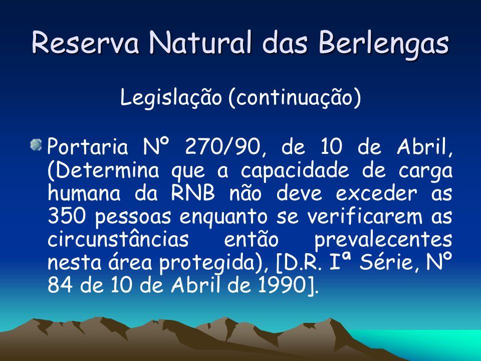 Reserva Natural das Berlengas Legislação (continuação) Portaria Nº 270/90, de 10 de Abril, (Determina que a capacidade de carga humana da RNB não deve