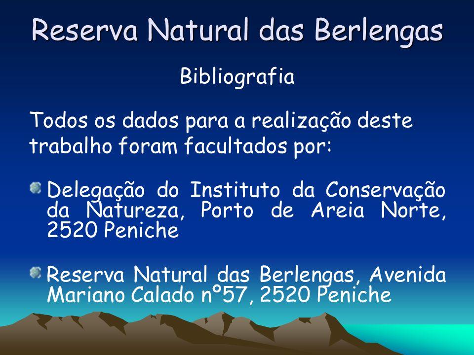 Reserva Natural das Berlengas Bibliografia Todos os dados para a realização deste trabalho foram facultados por: Delegação do Instituto da Conservação