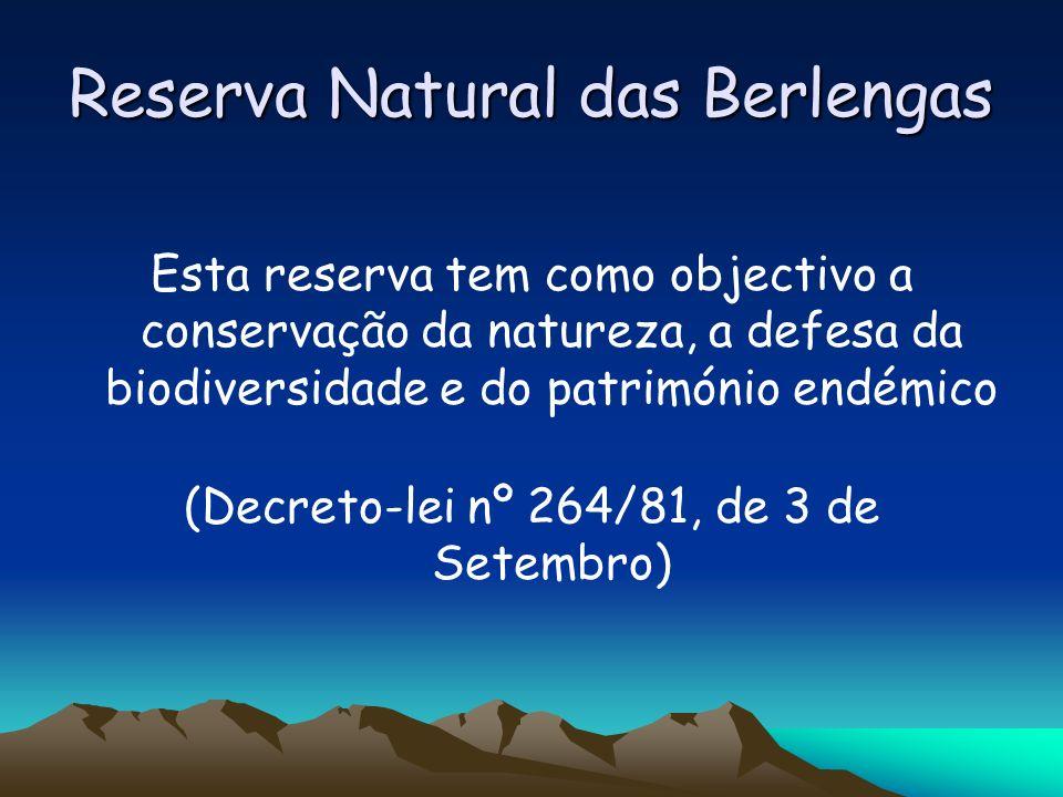 Reserva Natural das Berlengas A reserva passou a ter novos limites A área total da reserva foi ampliada para 9560 hectares e a sua designação foi actualizada para: RESERVA NATURAL DAS BERLENGAS