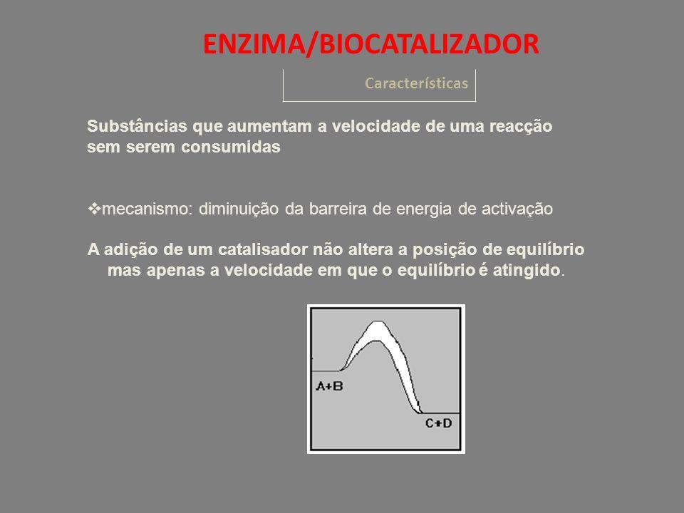 Substâncias que aumentam a velocidade de uma reacção sem serem consumidas mecanismo: diminuição da barreira de energia de activação A adição de um catalisador não altera a posição de equilíbrio mas apenas a velocidade em que o equilíbrio é atingido.