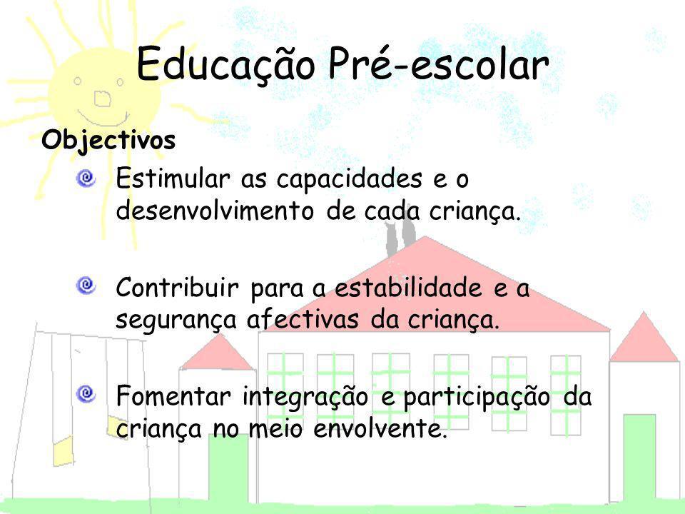 Objectivos Estimular as capacidades e o desenvolvimento de cada criança. Contribuir para a estabilidade e a segurança afectivas da criança. Fomentar i