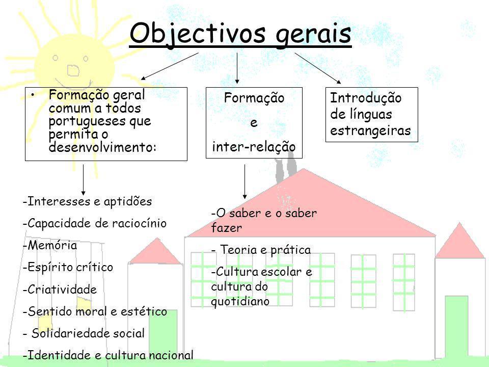Objectivos gerais Formação geral comum a todos portugueses que permita o desenvolvimento: -Interesses e aptidões -Capacidade de raciocínio -Memória -E