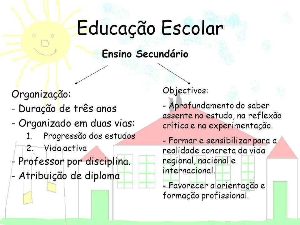Educação Escolar Organização: - Duração de três anos - Organizado em duas vias: 1.Progressão dos estudos 2.Vida activa - Professor por disciplina. - A