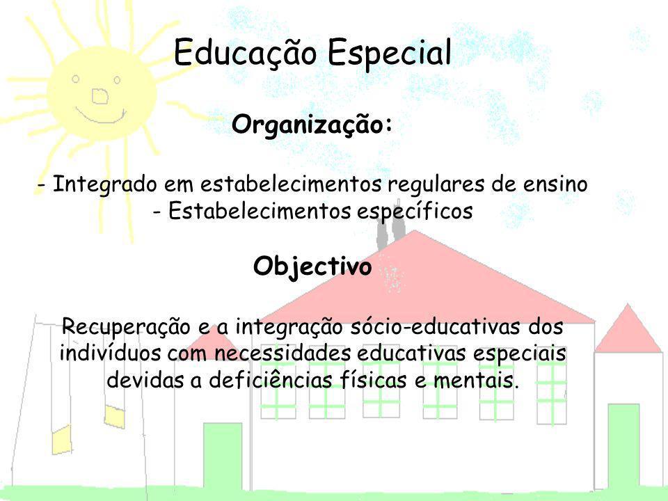 Educação Especial Organização: - Integrado em estabelecimentos regulares de ensino - Estabelecimentos específicos Objectivo Recuperação e a integração