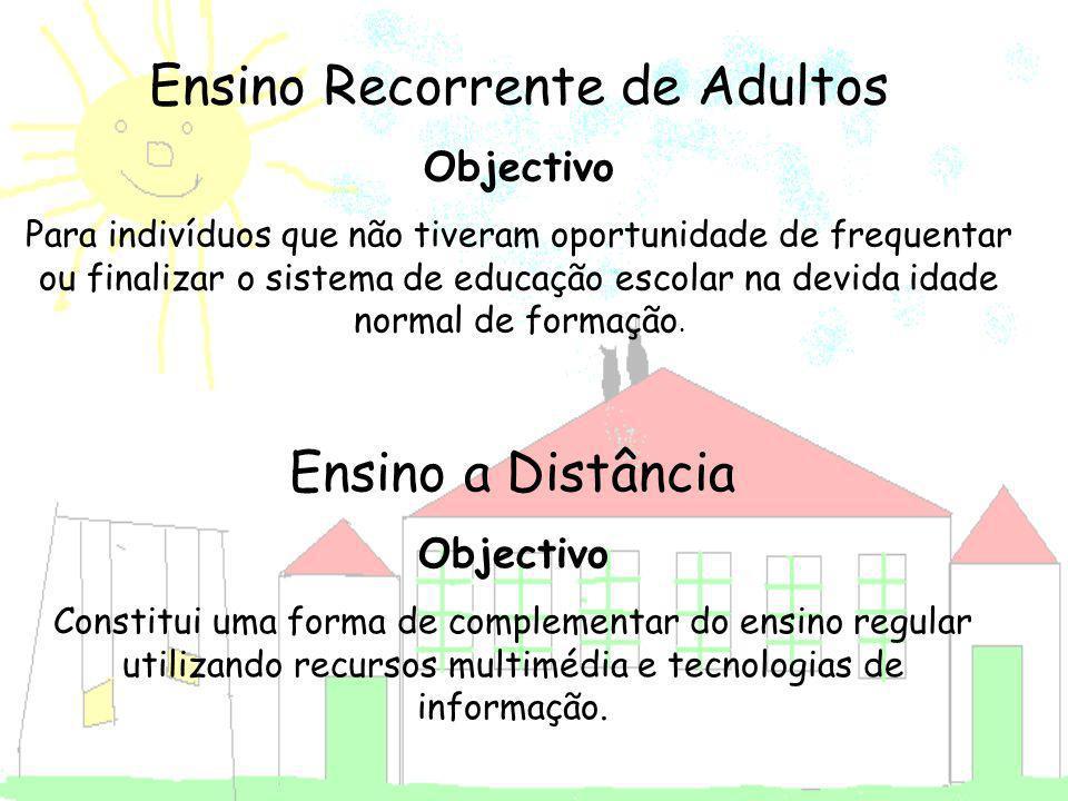 Ensino Recorrente de Adultos Objectivo Para indivíduos que não tiveram oportunidade de frequentar ou finalizar o sistema de educação escolar na devida