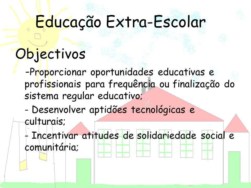 Objectivos - Proporcionar oportunidades educativas e profissionais para frequência ou finalização do sistema regular educativo; - Desenvolver aptidões