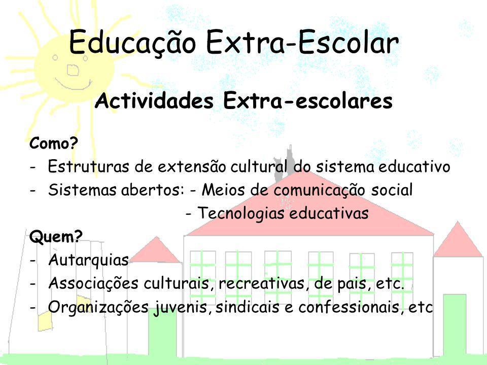 Actividades Extra-escolares Como? -Estruturas de extensão cultural do sistema educativo -Sistemas abertos: - Meios de comunicação social - Tecnologias