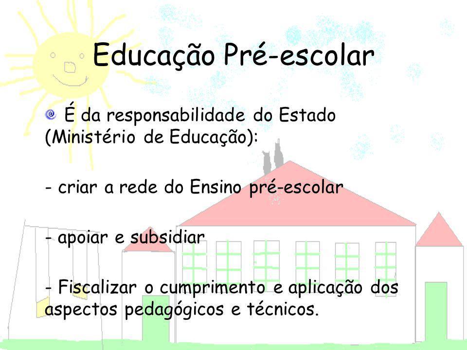 É da responsabilidade do Estado (Ministério de Educação): - criar a rede do Ensino pré-escolar - apoiar e subsidiar - Fiscalizar o cumprimento e aplic