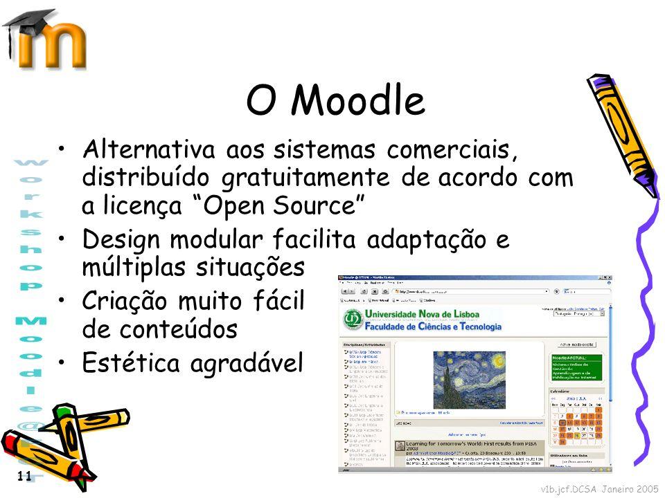 v1b.jcf.DCSA Janeiro 2005 11 O Moodle Alternativa aos sistemas comerciais, distribuído gratuitamente de acordo com a licença Open Source Design modula