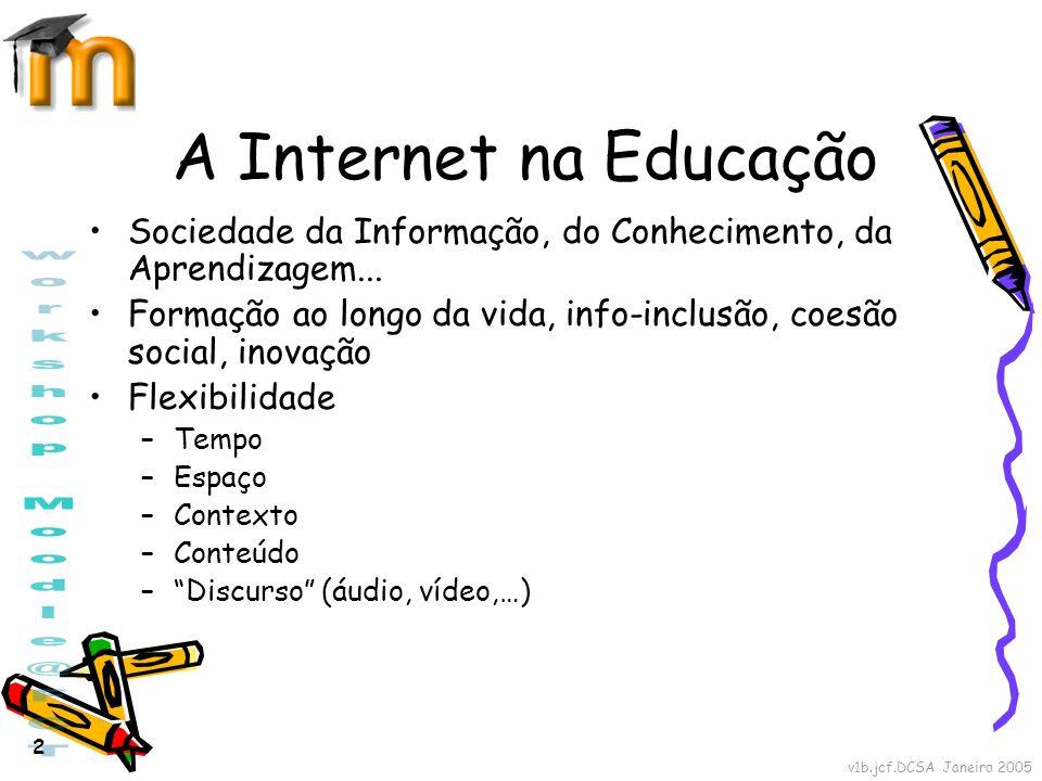 v1b.jcf.DCSA Janeiro 2005 2 A Internet na Educação Sociedade da Informação, do Conhecimento, da Aprendizagem... Formação ao longo da vida, info-inclus