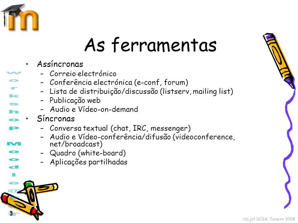 v1b.jcf.DCSA Janeiro 2005 3 As ferramentas Assíncronas –Correio electrónico –Conferência electrónica (e-conf, forum) –Lista de distribuição/discussão
