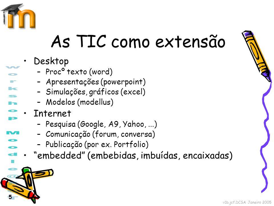 v1b.jcf.DCSA Janeiro 2005 5 As TIC como extensão Desktop –Procº texto (word) –Apresentações (powerpoint) –Simulações, gráficos (excel) –Modelos (model