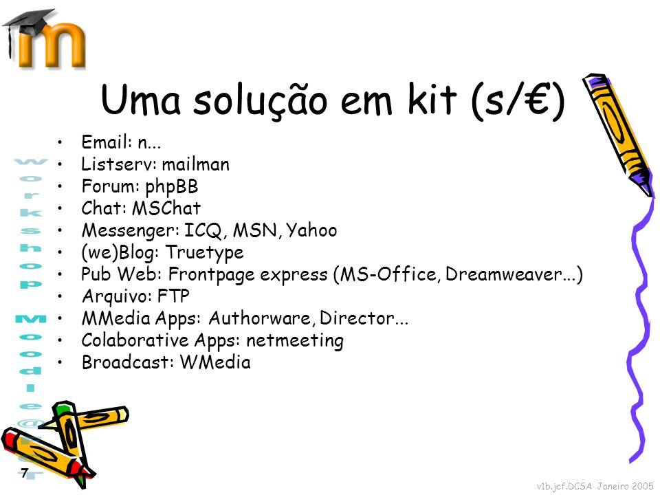 v1b.jcf.DCSA Janeiro 2005 7 Uma solução em kit (s/) Email: n... Listserv: mailman Forum: phpBB Chat: MSChat Messenger: ICQ, MSN, Yahoo (we)Blog: Truet