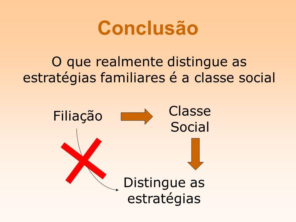 Conclusão O que realmente distingue as estratégias familiares é a classe social Filiação Classe Social Distingue as estratégias