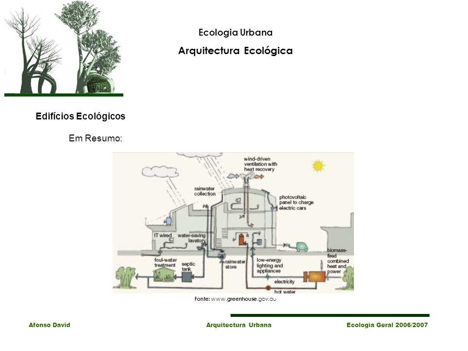 Ecologia Urbana Arquitectura Ecológica Afonso David Arquitectura Urbana Ecologia Geral 2006/2007 Em Resumo: Edifícios Ecológicos Fonte: www.