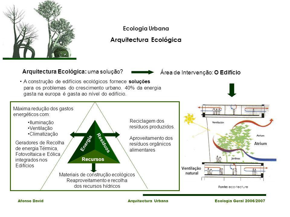 Ecologia Urbana Arquitectura Ecológica Afonso David Arquitectura Urbana Ecologia Geral 2006/2007 Arquitectura Ecológica: uma solução.