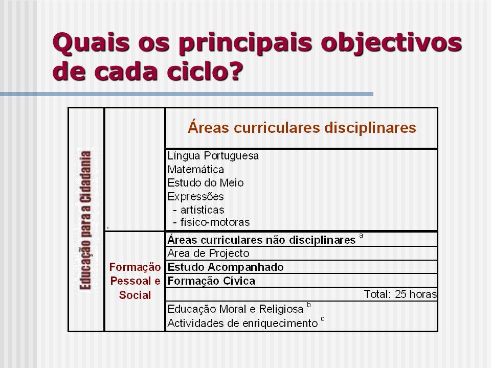 Quais os principais objectivos de cada ciclo?