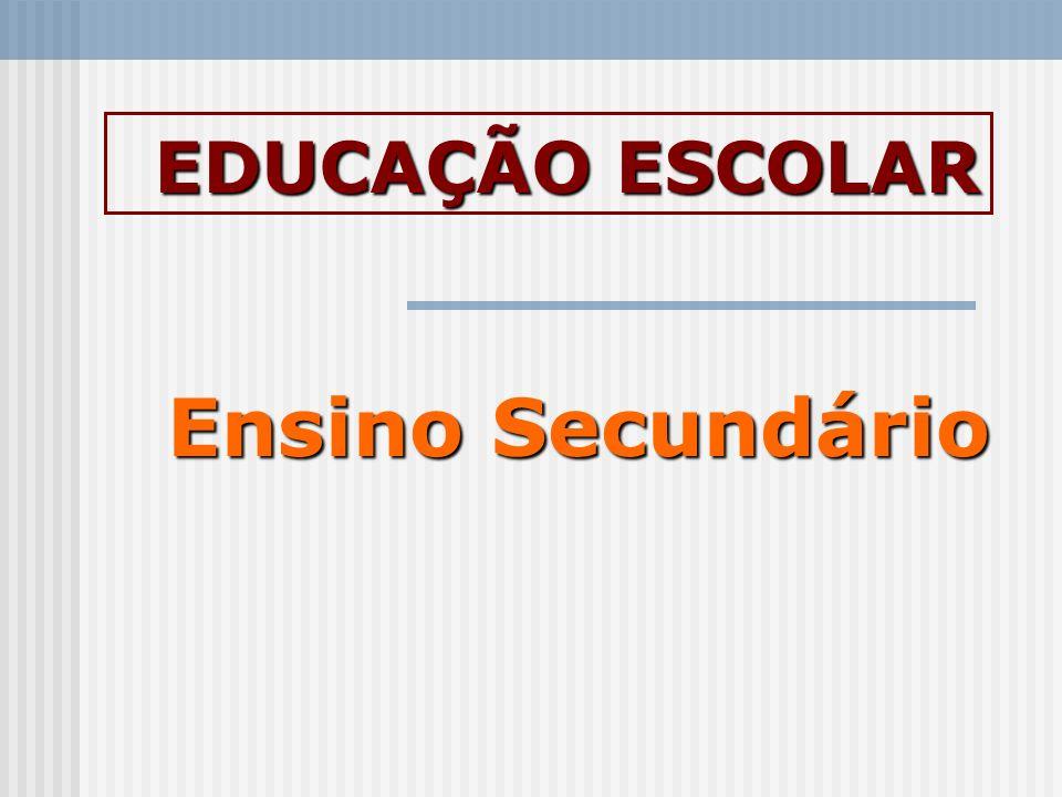 Ensino Secundário EDUCAÇÃO ESCOLAR