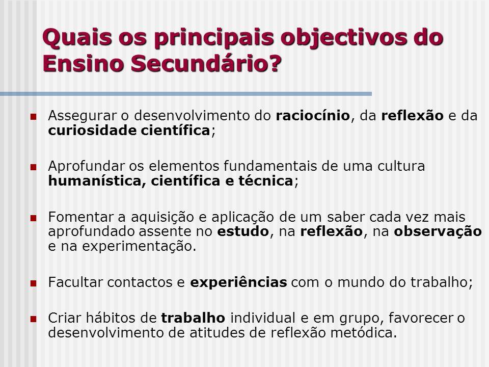 Quais os principais objectivos do Ensino Secundário? Assegurar o desenvolvimento do raciocínio, da reflexão e da curiosidade científica; Aprofundar os