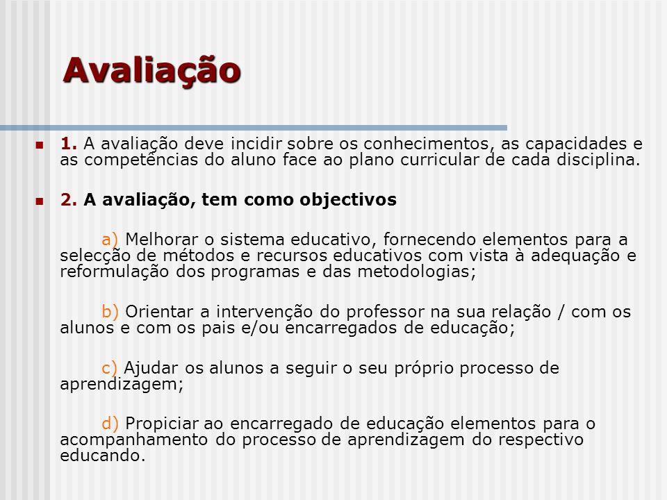 Avaliação 1. A avaliação deve incidir sobre os conhecimentos, as capacidades e as competências do aluno face ao plano curricular de cada disciplina. 2