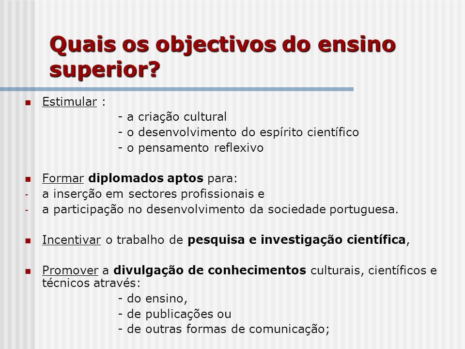 Quais os objectivos do ensino superior? Estimular : - a criação cultural - o desenvolvimento do espírito científico - o pensamento reflexivo Formar di