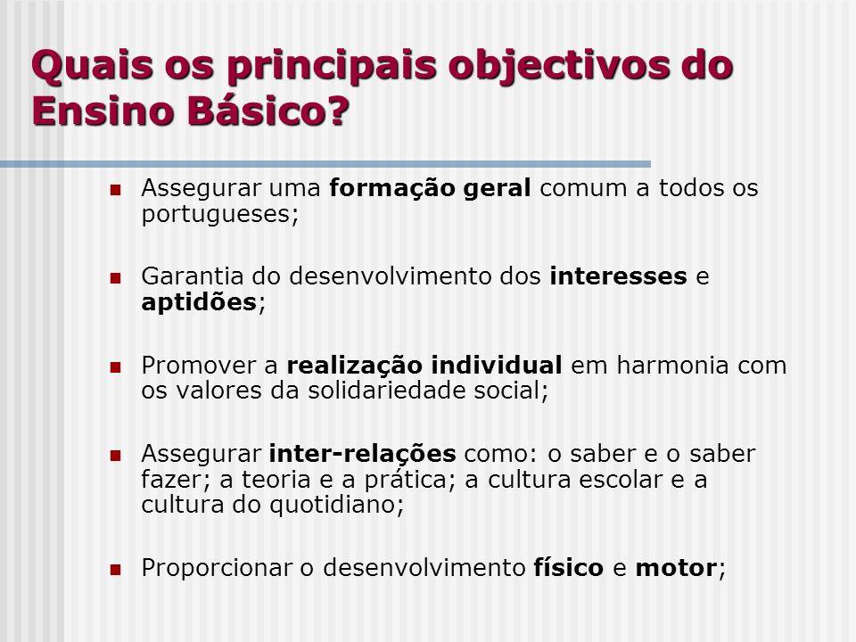 Quais os principais objectivos do Ensino Básico? Assegurar uma formação geral comum a todos os portugueses; Garantia do desenvolvimento dos interesses