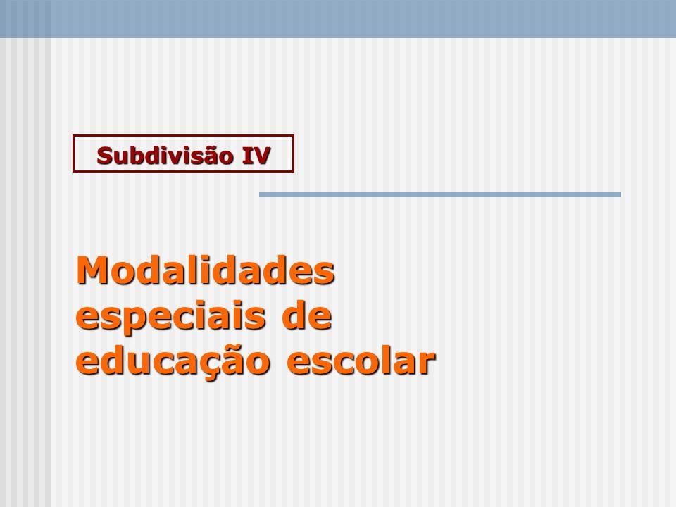Subdivisão IV Modalidades especiais de educação escolar