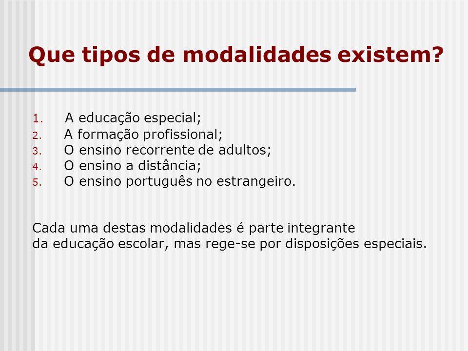 Que tipos de modalidades existem? 1. A educação especial; 2. A formação profissional; 3. O ensino recorrente de adultos; 4. O ensino a distância; 5. O