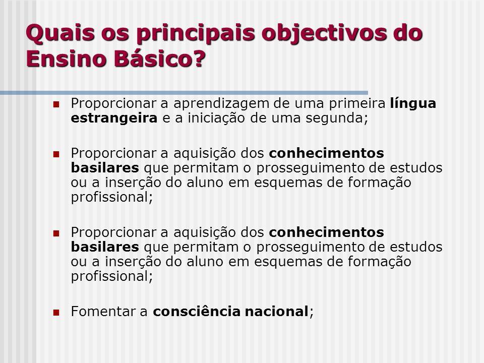 Quais os principais objectivos do Ensino Básico? Proporcionar a aprendizagem de uma primeira língua estrangeira e a iniciação de uma segunda; Proporci