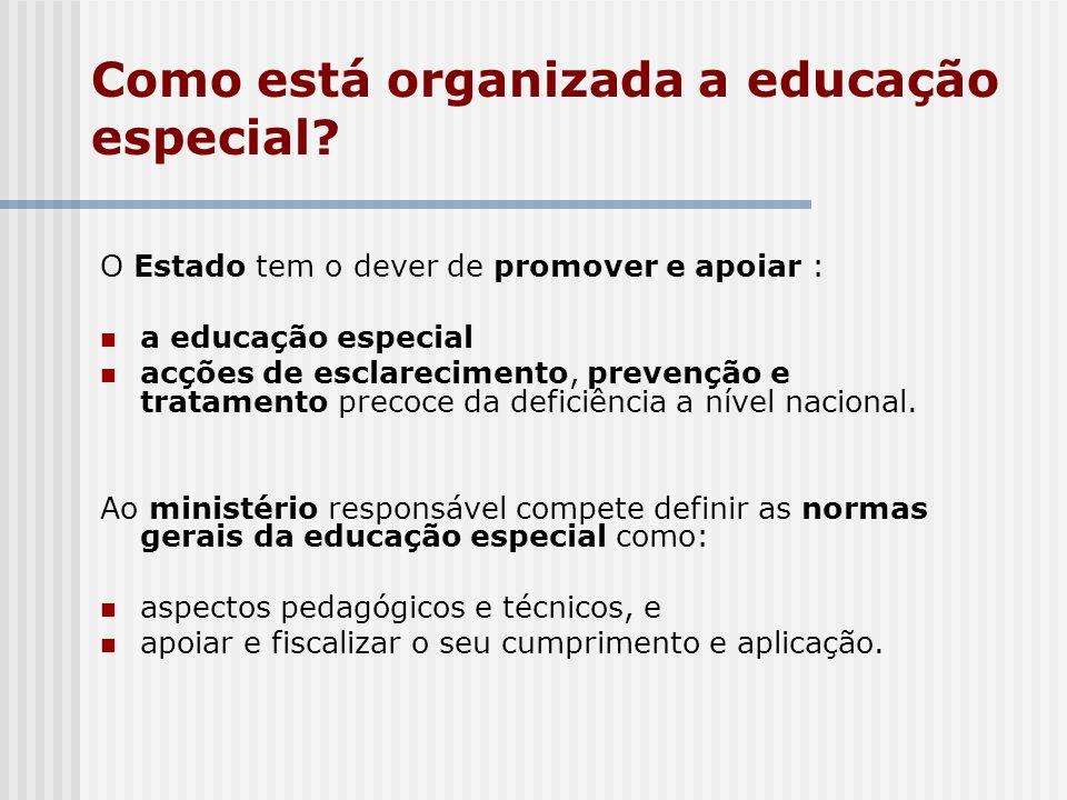 Como está organizada a educação especial? O Estado tem o dever de promover e apoiar : a educação especial acções de esclarecimento, prevenção e tratam