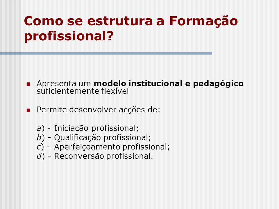 Como se estrutura a Formação profissional? Apresenta um modelo institucional e pedagógico suficientemente flexível Permite desenvolver acções de: a) -