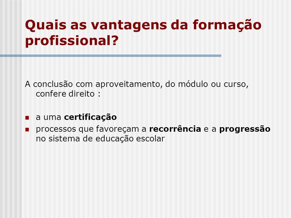 A conclusão com aproveitamento, do módulo ou curso, confere direito : a uma certificação processos que favoreçam a recorrência e a progressão no siste