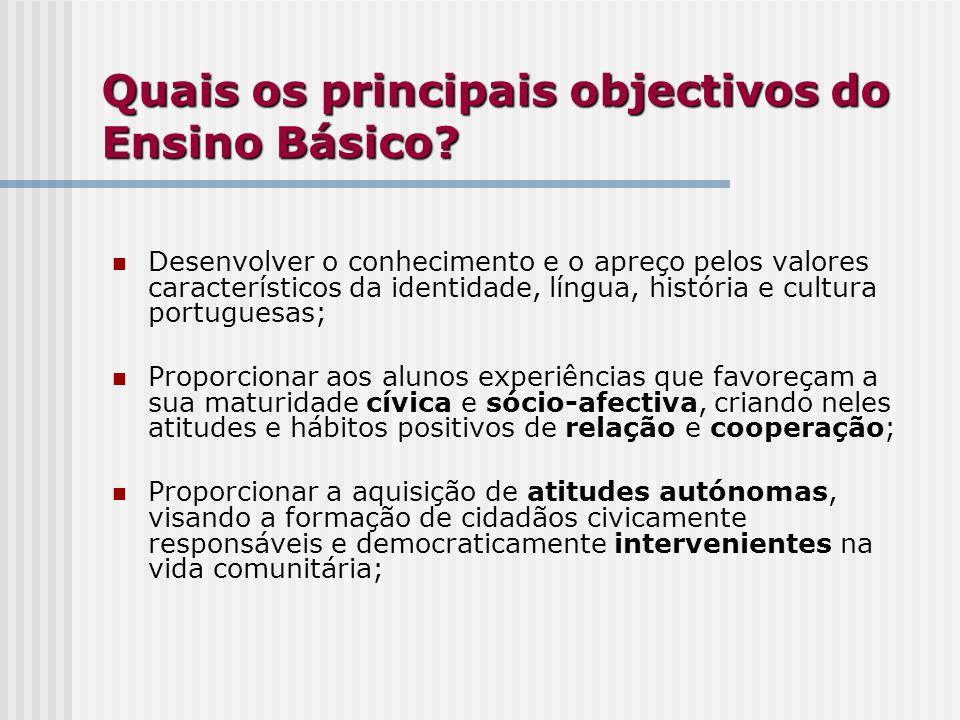 Quais os principais objectivos do Ensino Básico? Desenvolver o conhecimento e o apreço pelos valores característicos da identidade, língua, história e