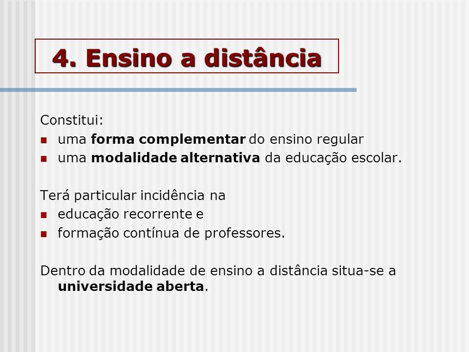 4. Ensino a distância Constitui: uma forma complementar do ensino regular uma modalidade alternativa da educação escolar. Terá particular incidência n