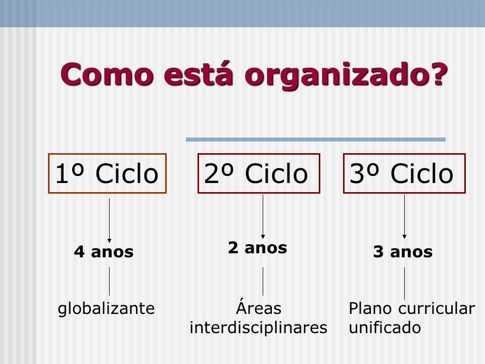 Como está organizado? 1º Ciclo2º Ciclo3º Ciclo 4 anos 2 anos 3 anos globalizanteÁreas interdisciplinares Plano curricular unificado