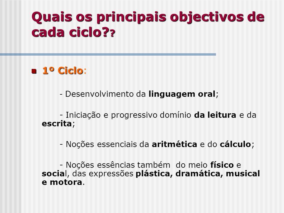 Quais os principais objectivos de cada ciclo? ? 1º Ciclo 1º Ciclo: - Desenvolvimento da linguagem oral; - Iniciação e progressivo domínio da leitura e