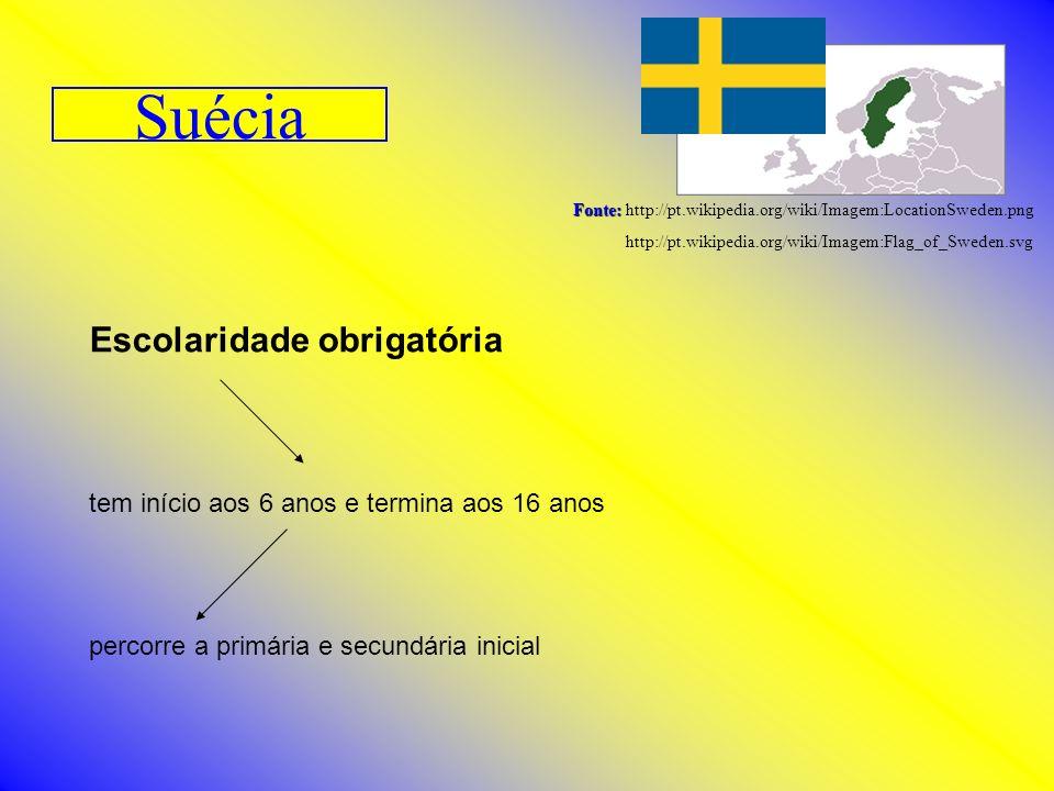 Suécia Fonte: Fonte: http://pt.wikipedia.org/wiki/Imagem:LocationSweden.png http://pt.wikipedia.org/wiki/Imagem:Flag_of_Sweden.svg Escolaridade obriga