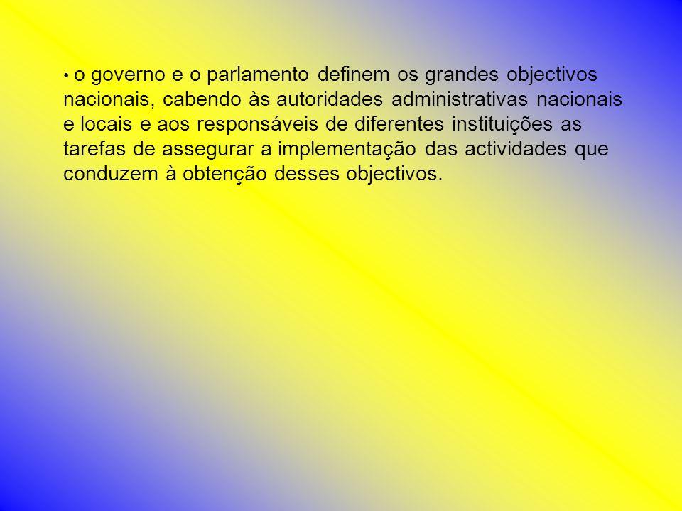 o governo e o parlamento definem os grandes objectivos nacionais, cabendo às autoridades administrativas nacionais e locais e aos responsáveis de dife